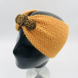 Turbante alpaca ARMATTA naranja con pedrería