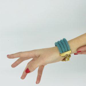pulsera verde con cordones alpaca
