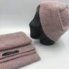 Conjunto bufanda gorro pendientes alpaca rosa